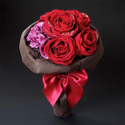花束風メッセージフラワー赤バラ